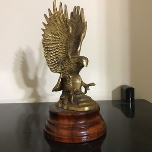 Unique eagle metal statue with wood base
